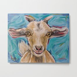 Goat Art, 'Buttercup' Goat Painting Metal Print