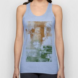 Ejaaz Haniff Abstract Acrylic Palette Knife Painting Olive Green Yellow Ochre: 'Sunny Valley One' Unisex Tank Top