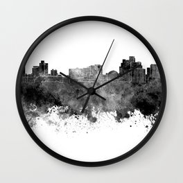 Reno skyline in black watercolor on white background Wall Clock