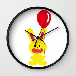 One Tooth Rabbit Hold Red Balloon Wall Clock