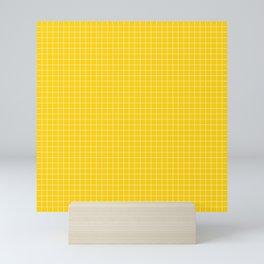 Yellow Grid White Line Mini Art Print
