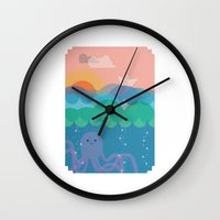 under the sea Wall Clocks featuring Under Sea by Loop in the mind