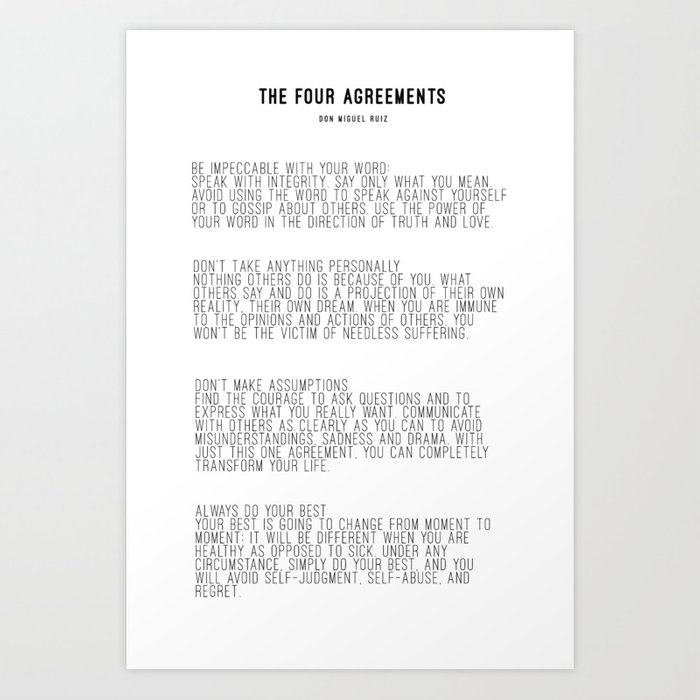 The Four Agreements Bw Minimalism Art Print By Andreaanderegg