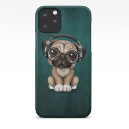 Cute Pug Puppy Dj Wearing Headphones and Glasses on Blue iPhone Case