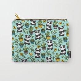 Panda Bear Print, Baby Panda, Blue and Green, Cute Panda Pattern Carry-All Pouch