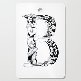 Floral Pen and Ink Letter B Cutting Board