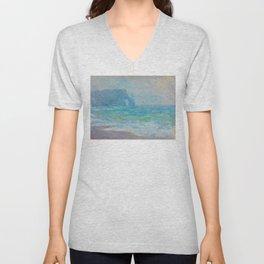 Claude Monet Impressionist Landscape Oil Painting Regnvær, Etretat Unisex V-Neck