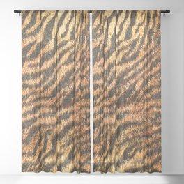 Bengal Tiger Fur Wildlife Print Pattern Sheer Curtain