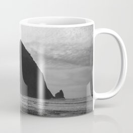 Haystack Rock in Black and White - Cannon Beach, Oregon Film Photo Coffee Mug