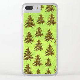 Sparkly Gold Christmas tree on abstract green paper Clear iPhone Case