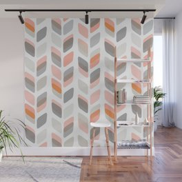 Modern Rectangle Print with Retro Abstract Leaf Pattern Wall Mural