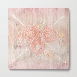Cute card with flower bouquet on wood background Metal Print