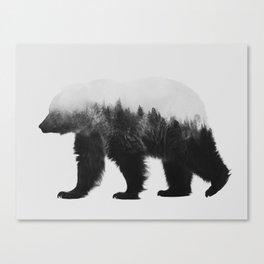 Brown Bear (black & white version) Canvas Print