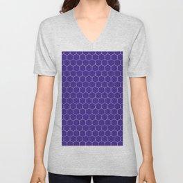 Repeating Purple Hexagon Gradient Geometric Pattern Unisex V-Neck