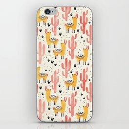Yellow Llamas Red Cacti iPhone Skin