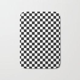 White and Black Checkerboard Bath Mat