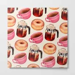 Coffee Donut Percolator Pattern Metal Print