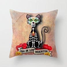 Dia De Los Muertos El Gato - Day of the Dead the Cat Throw Pillow