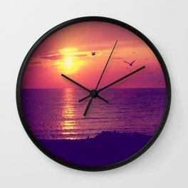 Lake Michigan Sunset Wall Clock
