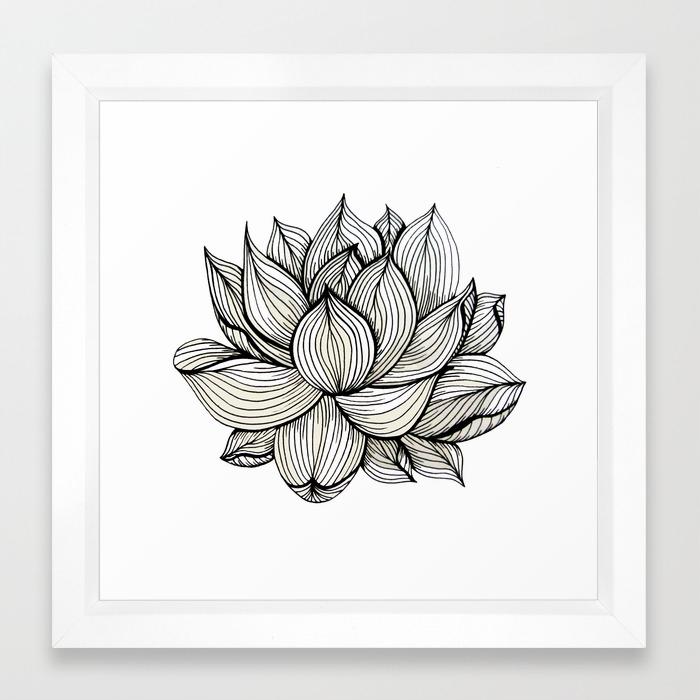 Lotus Flower Black And White Nature Organic Design Drawing