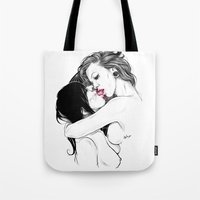 girls Tote Bags featuring Girls by Anna Sun