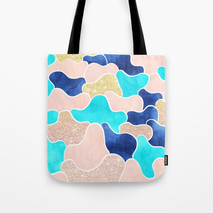 Color block faux gold turquoise pink watercolor Tote Bag