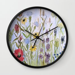 Wildflower Garden Watercolor Flower Illustration Wall Clock