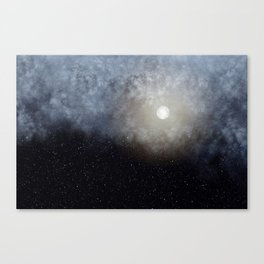 Glowing Moon in the night sky Canvas Print