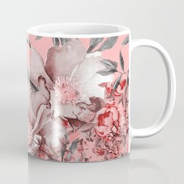 Peach Red and Gray Floral Coffee Mug
