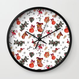 Awesome holiday Christmas repeating Posters and Art Prints Wall Clock