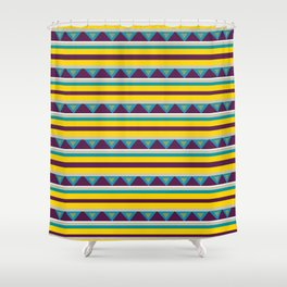 Triangles & Stripes Pattern Shower Curtain