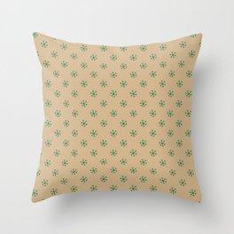 Cadmium Green on Tan Brown Snowflakes Throw Pillow