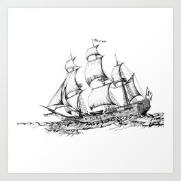 sailing ship . Home decor Graphicdesign Art Print