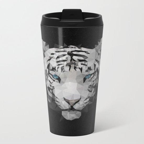Meduzzle: White Tiger Metal Travel Mug