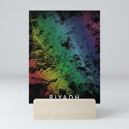 Riyadh, Saudi Arabia, City, Map, Rainbow, Map, Art, Print Mini Art Print