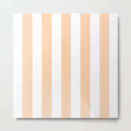 Light apricot pink - solid color - white vertical lines pattern Metal Print