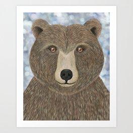 brown bear woodland animal portrait Art Print