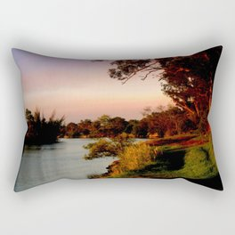 Reflecting sunset on the river Bank Rectangular Pillow
