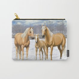 Beautiful Palomino Quarter Horses In Snow Carry-All Pouch
