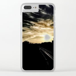 Black city against sunset Clear iPhone Case