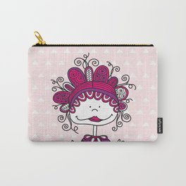 Doodle Doll with Curls on Pink Background Carry-All Pouch