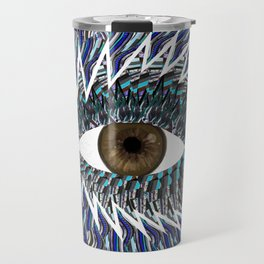 Origami Chakra Eye - Chocolate Brown Black Travel Mug