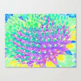 Turquoise Blue and Purple Abstract Coneflower Canvas Print