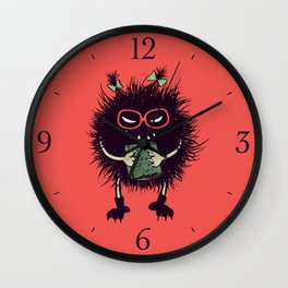Evil Bug Student Loves To Read Wall Clock