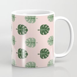 Tropical leaves Monstera deliciosa green and pink #monstera #tropical #leaves #floral #homedecor Coffee Mug