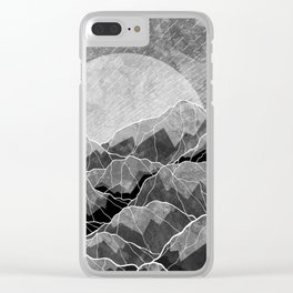 Mountains of silver and grey Clear iPhone Case