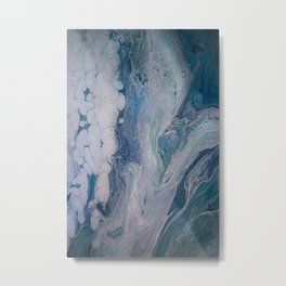 Purple, Blue, and White Abstract Fluid Acrylic Painting 2 Metal Print