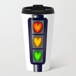 Love Heart Traffic Lights Travel Mug