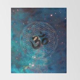 Om & Flower of Life Throw Blanket