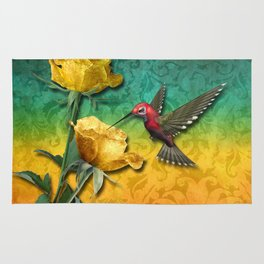 Hummingbird Gold Roses & Damask Rug